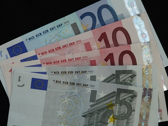 pět euro bankovek