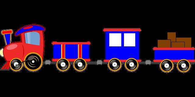 ilustrace parního nákladního vlaku